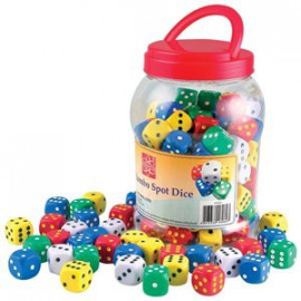 100 Spot Dice Assorted Colours
